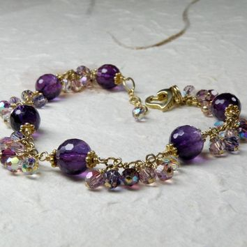 Amethyst Bracelet, Purple, Orchid, Violet Natural Stone, Gold Filled, Handmade Gemstone Jewelry, February Birthday, Birthstone