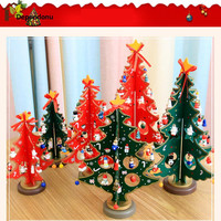 Cute Cartoon Wooden Christmas Crafts Tree Ornament Table Desk Xmas Hanging Gift For Home Christmas Decoration