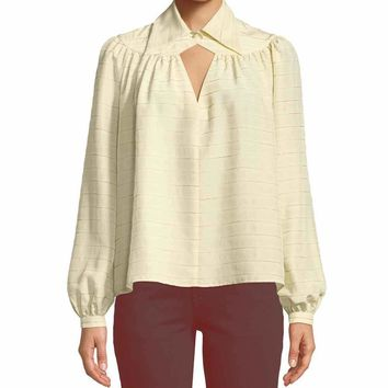 Co Collection Long Sleeve Yoked Stripe Silk Blouse