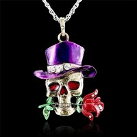 Gothic Skull Necklace Jewelry flower enamel Vintage Enamel crystal skull collection