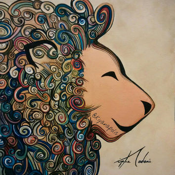 Lion watercolor painting, abstract, Colorful painting, lion painting, abstract lion, Persian art painting, animal art, Persian, Iranian