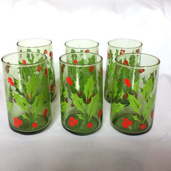 Vintage Green Glass Christmas Holly Berry Drinking Glasses Tumbler Set of 6