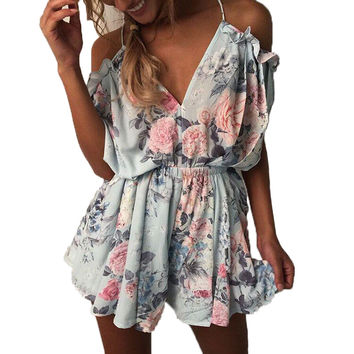 Summer Women Romper Shorts Jumpsuit Sexy Short Sleeve Playsuit V Neck Bohemian Beach Overalls Casual Loose Clothing Bodysuit