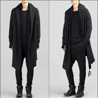 Black Long Sweater Cardigan With Hood / Glove Sleeves - Bottom Drawstring   - Seam Details   - LONG ASYMMETRIC CUT Winter