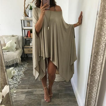 Khaki Butterfly Sleeve Pleated Cape Dress