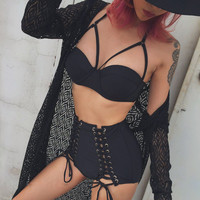 2017 New Sexy Bikinis Women Swimsuit High Waisted Bathing Suits Swim Halter Push Up Bikini Set black Hollow out Swimwear 2502