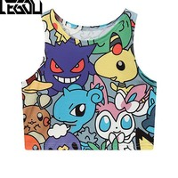 New  Harajuku Sexy Girls  Pocket Monster Pocket Monster Sailor Moon Crystal Crop Tops Vest Tank Tops Animal Cosplay Costume