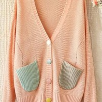 Candyhouse Wonders V-Neck Pocketed Knit Cardigan in Pink | Sincerely Sweet Boutique