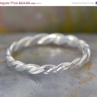 Fall Sale Twisted Silver Band - Silver Ring - Stacker Ring - Thumb Ring - Patterened Band - Argentium Ring - Handmade Ring