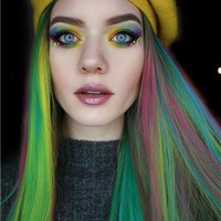 Rainbow Polychrome Costume Synthetic Lace Front Wig