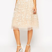 ASOS Prom Midi Skirt With Floral Embellishment And Applique