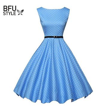 Summer Women Dress Floral Print Retro Vintage 50s 60s Polka Dot Vintage Dresses Elegant Ukraine Dress Sleeveless Party Dresses