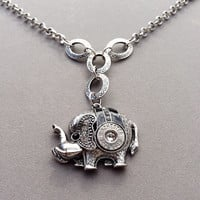 Elephant necklace with Winchester .243 bullet casing. Bullet jewelry. Bullet necklace