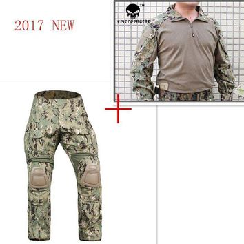 DCCK7N3 Airsoft Emerson bdu G3 Combat uniform shirt Pants with knee pads Emerson BDU Military Army AOR2 Camouflage Suits EM8596+7049