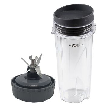 Nutri Ninja 16oz Cup with Lid and Extractor Blade Model 303KKU 305KKU 307KKU for BL660 BL663 BL663CO BL665Q BL740 BL780 BL810 BL820 BL830