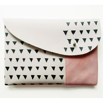 MIXED CLUTCH / ivory pink black