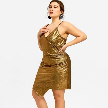 Gold Holographic Plus Size Dress