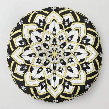 'Immortal Spirit' Mandala Black Gold White Floor Pillow by inspiredimages