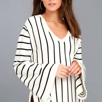 Rothwell Black and White Striped Sweater