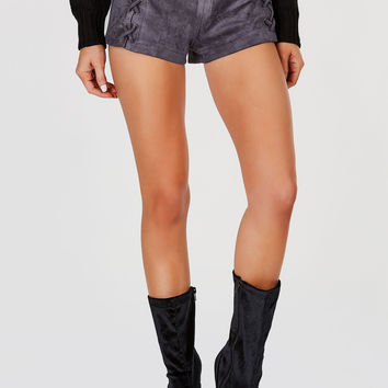 Laced Up Suede Shorts