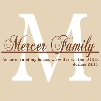 Large Family Name Christian Bible Verse Personalized Wall Decal Monogram