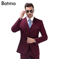 2017 new arrival High quality weding dress,one button casual suit men,wine red men's Business suits, plus-size S -4XL,10 color