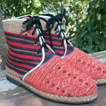 Vegan Men's Boots In Red Tribal Naga Ethnic Textiles Short Boot - Jacob