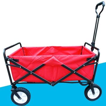 Folding 4 Wheel Wagon Trolley with Lining Foldable Collapsible Cart Sports/Garden