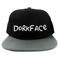 Dorkface Snapback Hat in Black & Gray