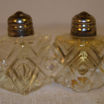 Cut Crystal Salt and Pepper Shakers Vintage Individual Shakers Silverplate Tops Made in Japan Miniature Salt & Pepper Shakers Fine Dining