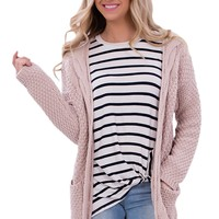 Chicloth Pink Long Open Front Pocket Cardigan
