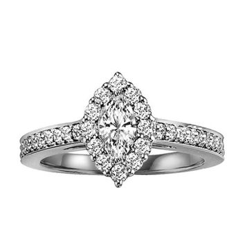 14K White Gold 2/3cttw Marquise Shaped Halo Diamond Engagement Ring