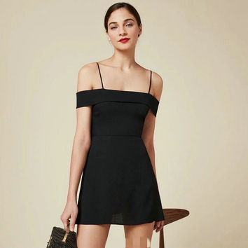 Strapless Spaghetti Strap Short Sleeve High Waist Dress One Piece Dress [6158983300]