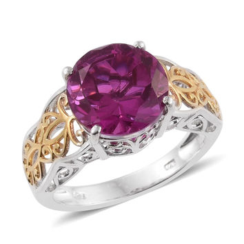 Radiant Orchid Quartz 14K Yellow Gold and Platinum Ring