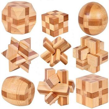 DCCKL72 9 PCS New Excellent Design IQ Brain Teaser 3D Wooden Interlocking Burr Puzzles Game Toy For Kids PQQ02