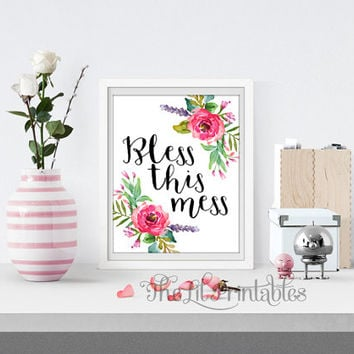 Bless this Mess Bible Verse Printable, Christian Quote, Scripture Art Print, Floral Printable, Home Wall Decor, Floral Art Print