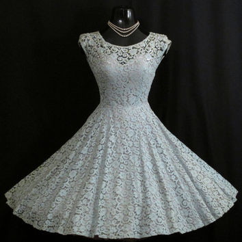 Vintage 1950's 50s Baby Blue Floral Lace Sequins Pearls Party Prom Wedding DRESS