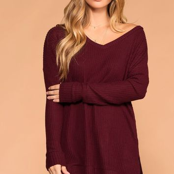 Stay True Burgundy V-Neck Waffle Knit Sweater Top