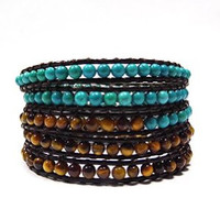 Brown Leather and Turquoise and Yellow Tiger Eye Jewelry | Chan Luu Style Wrap Bracelet