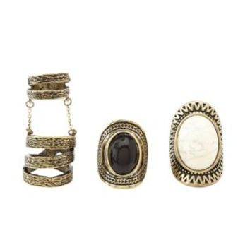 Gold Crackled & Chained Rings - 3 Pack by Charlotte Russe