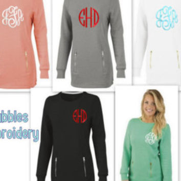 Monogrammed North Hampton Sweatshirt Mint Coral Gray White Black Zipper Pockets