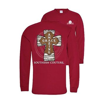 Southern Couture Preppy Amazing Grace Cross Faith Long Sleeve T-Shirt