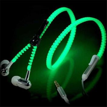 New 2018 Fashion Luminous Light Glow in the Dark Metal Zipper Music Festival Earbuds Headphones with Mic for Mobile Phone - FREE SHIPPING