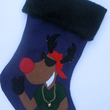 Hip Hop Reindeer Christmas Stocking