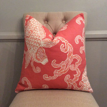 Handmade Decorative Pillow Cover - Home Accents Pisces Flamingo - Coral - Chinoiserie