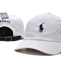 White POLO Sports Embroidered Baseball snapback cap Hat