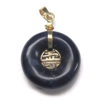 Vintage 90s 14K Chinese Long Life Charoite Pendant