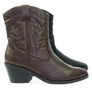 Picotee High Ankle Western Cowboy Boots, Chunky Stack Block Heel & Stitch Detail