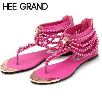 DCK7YE HEE GRAND Bling Beading Sandals T-Strap Flip Flops Summer Style Flats Shoes Woman Rhin