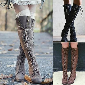 Crisscross Strappy Rivet Women Fashion Leather High Boots Low Heels Shoes